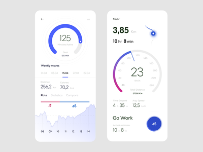 Trackr — Activity Dashboard & Tracking in Progress (Blue)