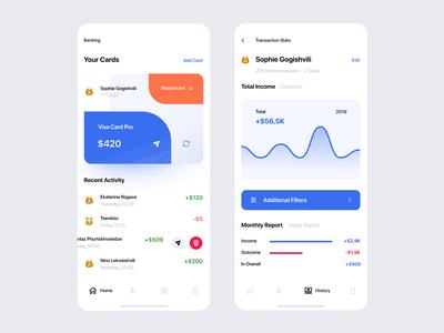 Banking App — Main Page & History