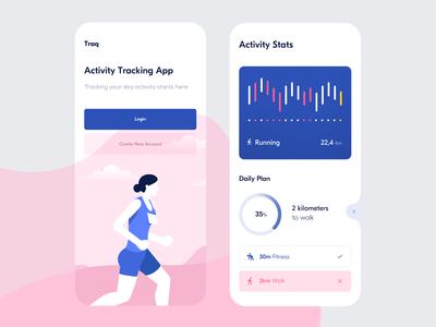 Traq — Home Screen & Activity Stats