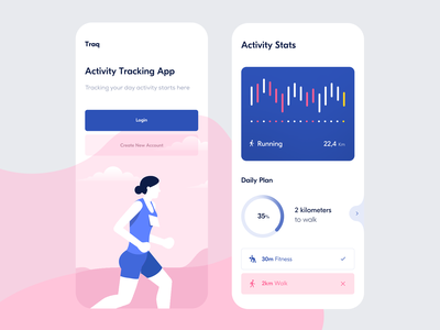 Traq — Home Screen & Activity Stats ndro sandro tavartkiladze tavdro fitness statistics home page fitness app stats tracking fitness tracker fitness tracking home screen ui minimal clean whitespace pink and blue pink blue home app