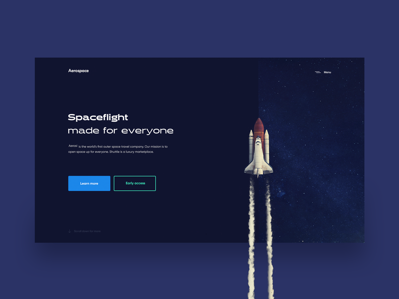 Aerospace — Flight Booking Landing (Unused Version) design inspiration ux grid white interface minimalism whitespace clean ui space art flight booking flight cosmos spaceship rocket minimal space tavdro sandro tavartkiladze