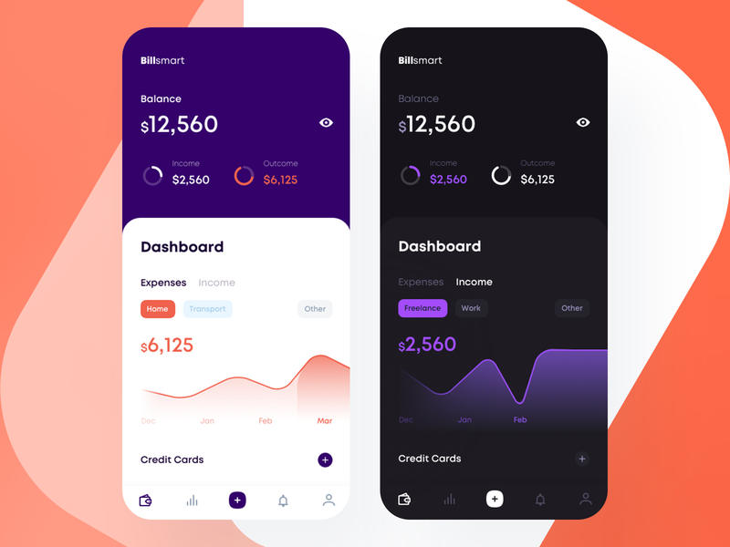 Billsmart Home Screen — Light and Dark Theme Exploration budget balance saving goals banking income expenses credit card send pay money android ios app apps fintech app smart bills bill fintech