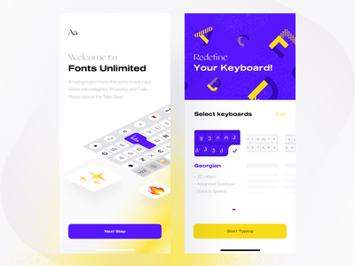 Fonts Unlimited — Splash Screen & Select Keyboards cool fonts choose keyboard yellow purple letters alphabet illustration fonts keyboards