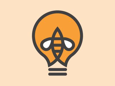 Beeees logo simple bulb lightbulb bee yellow