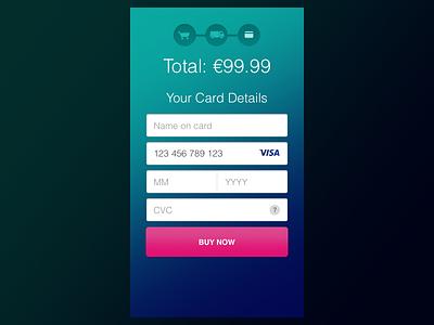 Single 002 Credit Card #dailyui #002 mobile gradient credit card form 002 dailyui
