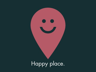 Happyplace smiley happy face icon pin location place simple