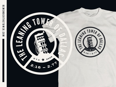 The Leaning Tower of Dallas Commemorative T-shirt Design
