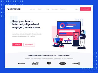 Appspace Hero Design Concept technology tech modern website bright colors hero design webdesign illustration daily ui ui blue design ui design logo vector illustrator branding