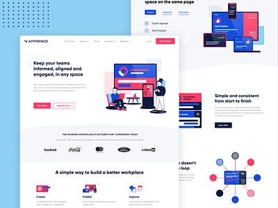 Appspace Hero Design Concept pink red bright fun modern web web design illustration design blue ui ui design vector illustrator branding