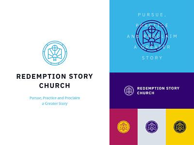 Redemption Story Church Branding church branding church logo flat linear icons design illustration icon typography blue logo vector illustrator branding
