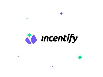 Incentify Logo Design wordmark logo design bright colors tech modern ui icon ux app daily ui design logo ui design vector illustrator branding