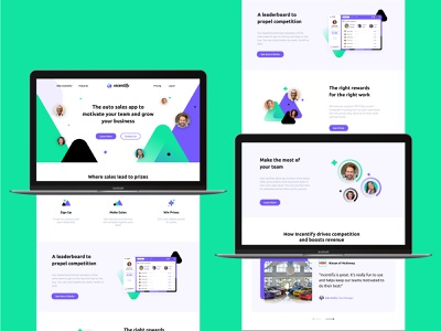 Incentify Marketing Website green neon modern brand marketing page website concept website web design illustrator blue illustration ui daily ui ux ui design branding