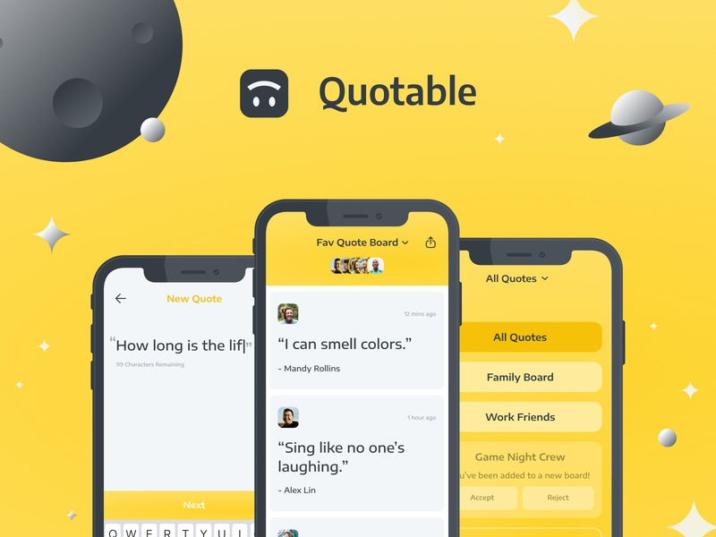 Quotable ✨🙃 yellow mobile design ios app design mobile ui ios mobile app mobile illustration vector flat app daily ui icon ui ui design illustrator branding