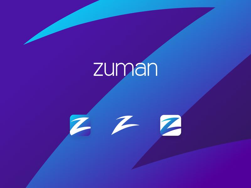 Zuman app icon typography logo design rebrand app design brand design bright illustrator brand design ui vector blue branding ui design logo