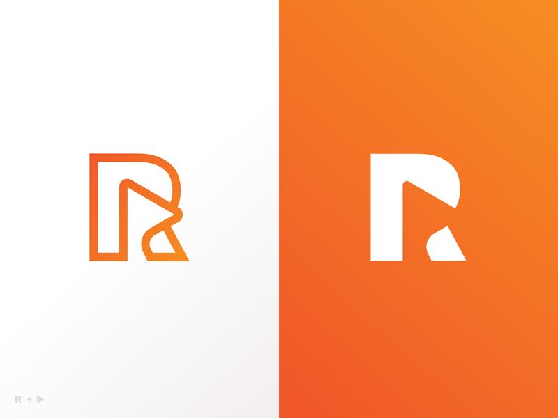 R + Play icon r orange illustrator design typography illustration logo vector branding ui design