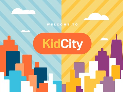 KidCity city illustration cityscape shapes purple yellow orange blue illustrator vector design illustration kids illustration church design ministry illutrator geometric shapes bright design kids design kids