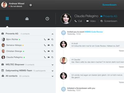 Office Communicator Mockup chat communicator web app nodejs clean minimalistic grey white blue flat ui