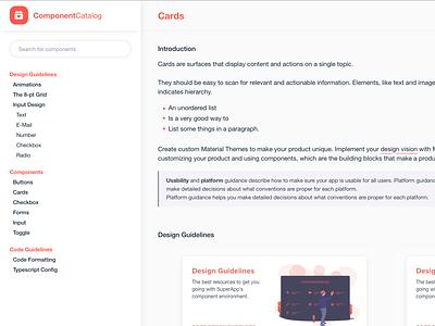 Component Catalog documentation design ui workflow pattern library styleguide