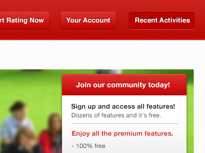 Join our community today! red navigation featured content