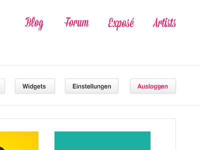 Community Header pink minimal community buttons