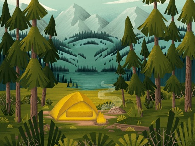 Camping in the Woods mountains woods wilderness campfire tent camping trees nature forest procreateapp digitalartist digitalart procreate illustration
