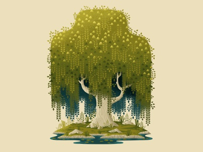 Weeping Willow plants leaves outdoors wacom tablet wacom photoshop illustration digitalartist forest nature tree willow