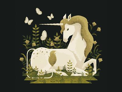 A Pretty Unicorn renaissance nature plants fairytale fantasy butterfly unicorn