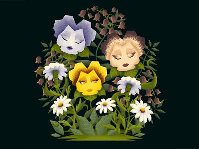 In the Golden Afternoon plants illustraion summer spring pedals flower daisy pansy wonderland aliceinwonderland