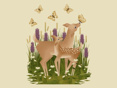 A Fawn and a Doe flowers illustration ill green wacom outdoors digitalartist nature plants butterflies butterfly fawn doe deer