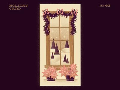 A Seasonal View trees poinsettia christmas decor christmas christmas card xmas card procreate illustration digitalartist digitalart