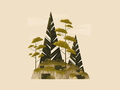 Mossy Green landscape trees nature design forest procreateapp procreate digitalartist digitalart illustration
