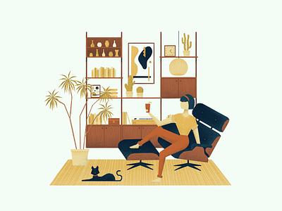 Mid Century Living interior design retro plants cat charachter design simplistic mid century modern interior home furniture mid century procreate digitalartist digitalart illustration