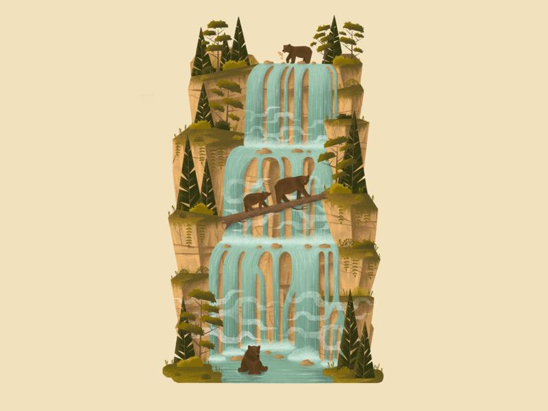 Silly Old Bears background landscape trees bears waterfall digitalart nature design forest procreateapp procreate digitalartist illustration