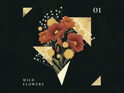Wild Flowers procreate flower illustration floral design geometic floral flowers nature design digitalartist digitalart illustration