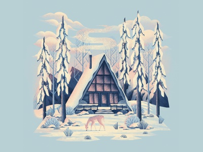 Cotton Candy Chills snow cabin cottage deer lanscape winter trees nature forest procreateapp digitalartist digitalart procreate illustration