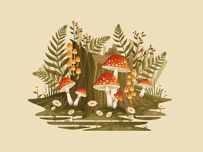 Mushroom Exploration flowers texture mushroom trees nature forest digitalartist digitalart illustration procreate