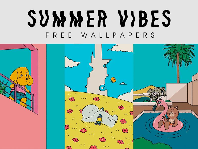 SUMMER VIBES free wallpapers minimal nature design art draw summer kawaii iphone illustration cartoon wallpaper