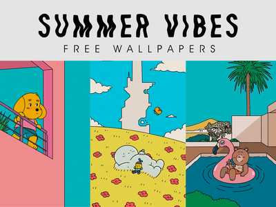 SUMMER VIBES free wallpapers minimal nature design art draw summer kawaii iphone illustration cartoon wallpaper