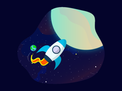 Space Flight Dribbble illustration planets universe stars warmup dribbble rocket patch challenges spaceship