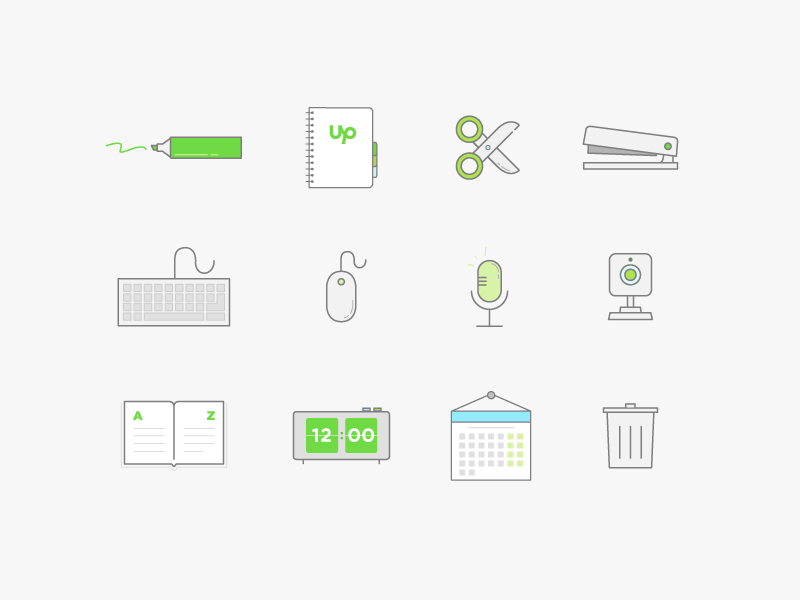 Illustration Set - Office graphic icon illustration