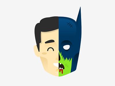 ( (; °Д°))ノ Zombie Bruce?! halloween zombie bruce wayne batman vector illustration sketch