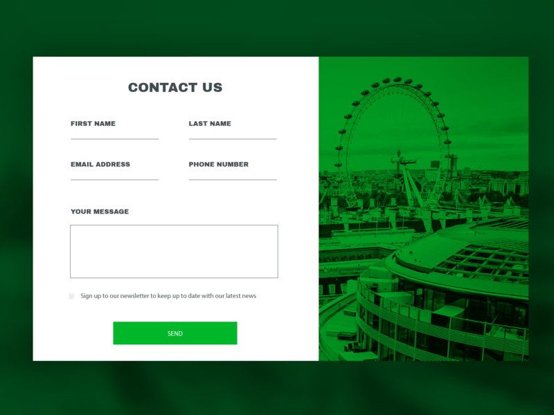 Contact Us name message forms london eye green desktop app slider slide case contact us sign london desktop ux interface ui form contact form contact