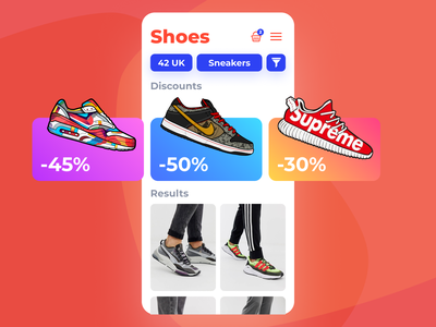 Shoe sale mobile application discounts cards figma trainers shoes application mobile ios