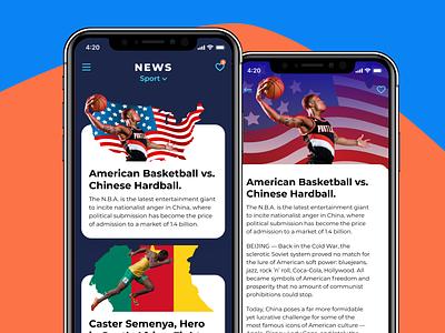 News app cards design application mobile app ui sport news figma ios