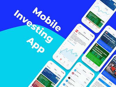 Mobile Investing App cards application design lightmode tabbar iphonex figma ux ui finance investing ios
