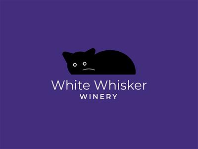 White Whisker Winery logo inspiration logo design vector cat halloween logo kitty cat logo halloween cat winery branding logo