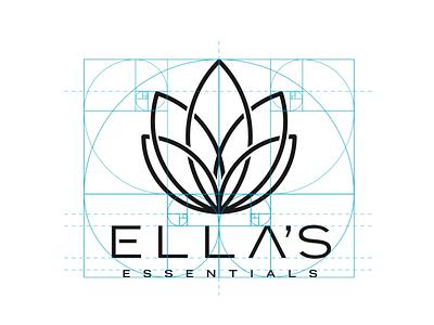 Ella's Essentials brand identity. word mark combination mark icon branding golden ratio cbd logo brand identity