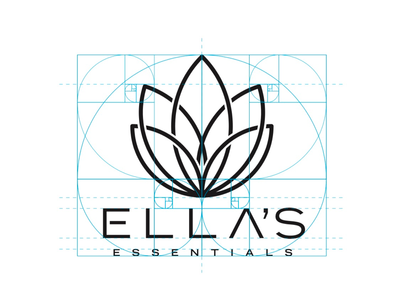 Ella's Essentials brand identity. word mark combination mark icon branding golden ratio cbd logo brand identity