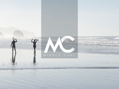 Middle Curl simple branding identity logo surf