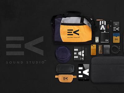 EV Sound Studio icon symbol wordmark logo-designer minimal brand identity merchandise music branding logo